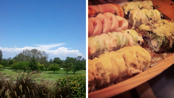Golf course ⇨ Sushi restaurant