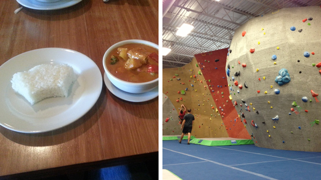 Thai restaurant ⇨ Rock climbing spot