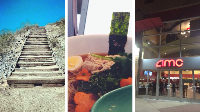 Mountain ⇨ Japanese restaurant ⇨ Catch a movie