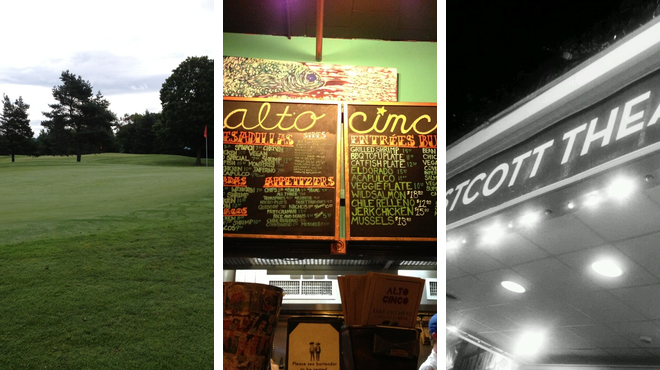 Golf course ⇨ Mexican restaurant ⇨ Rock club