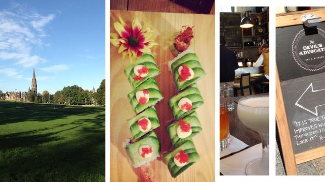 Park ⇨ Sushi restaurant ⇨ Bar