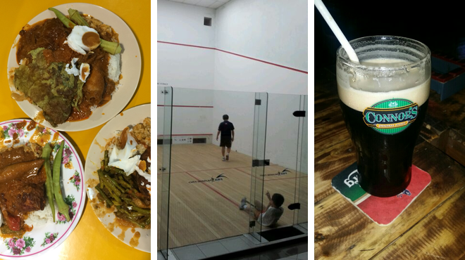 Malaysian restaurant ⇨ Squash court ⇨ Bar