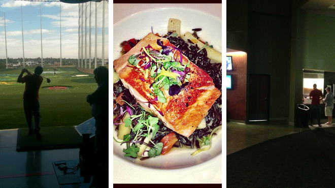 Golf course ⇨ Eastern european restaurant ⇨ Catch a movie