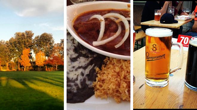 Park ⇨ Mexican restaurant ⇨ Beer garden