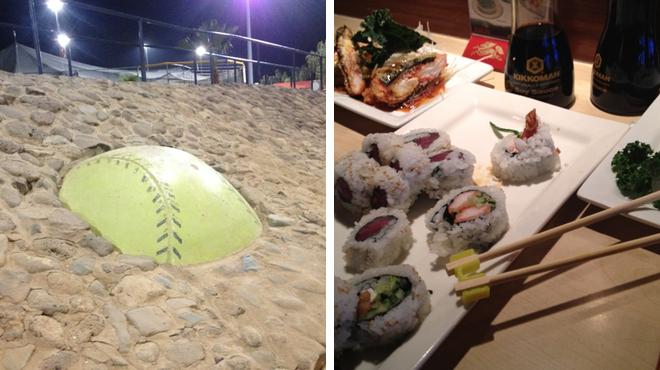 Baseball field ⇨ Sushi restaurant