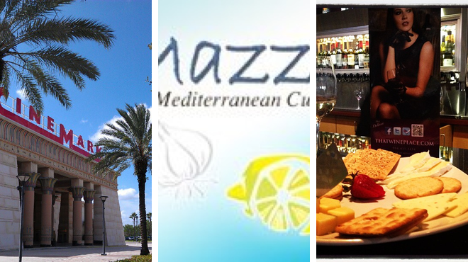Catch a movie ⇨ Mediterranean restaurant ⇨ Wine bar