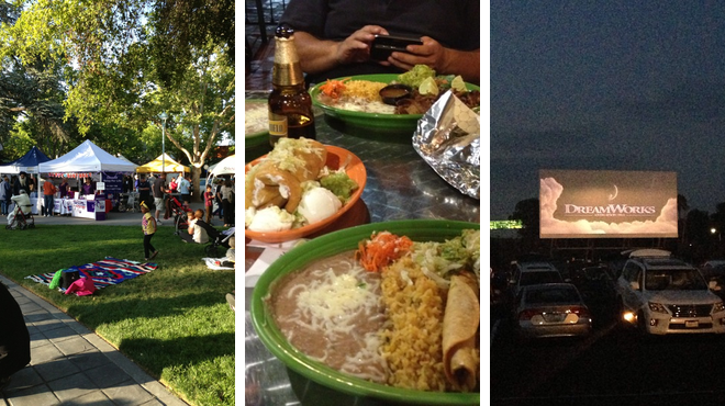 Plaza ⇨ Mexican restaurant ⇨ Catch a movie