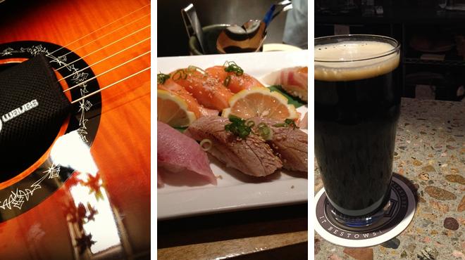 Music venue ⇨ Sushi restaurant ⇨ Brewery