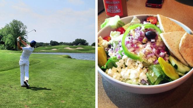 Golf course ⇨ Couple's Massage ⇨ Mediterranean restaurant
