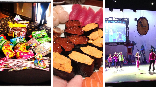 Golf course ⇨ Sushi restaurant ⇨ Performing arts venue