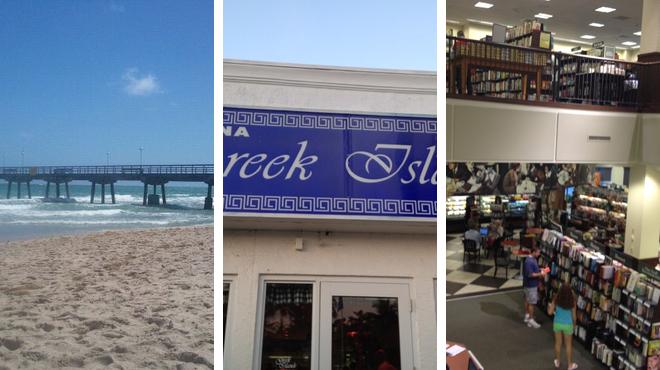 Beach ⇨ Greek restaurant ⇨ Bookstore