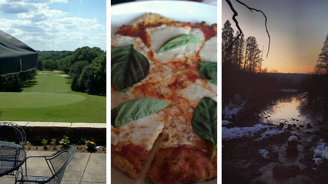 Golf course ⇨ Pizza place ⇨ Experience exhibits