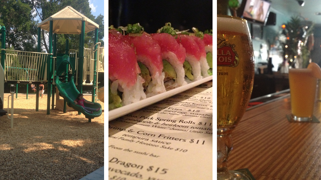 Park ⇨ Sushi restaurant ⇨ Lounge