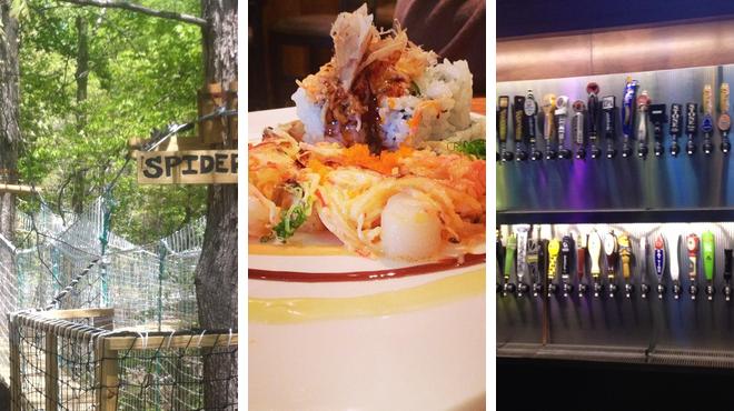 Rock climbing spot ⇨ Sushi restaurant ⇨ Sports bar