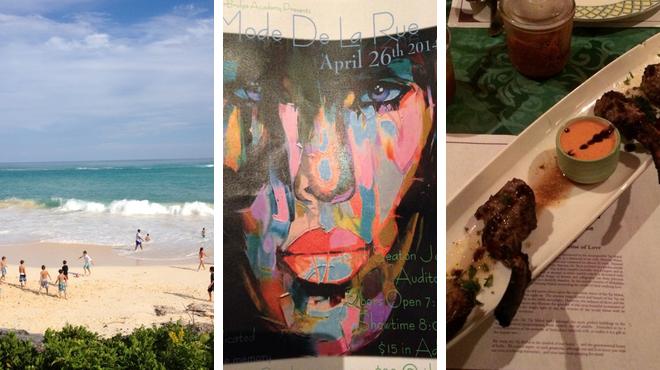 Beach ⇨ Catch a show ⇨ Indian restaurant