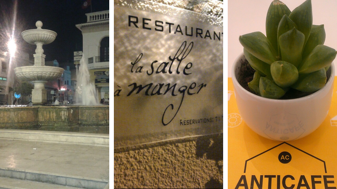 Plaza ⇨ French restaurant ⇨ Admire local art