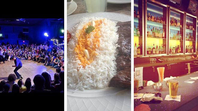 Music venue ⇨ Middle eastern restaurant ⇨ Hotel bar