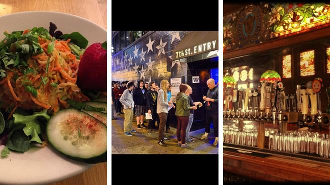 Vegetarian / vegan restaurant ⇨ Music venue ⇨ Bar