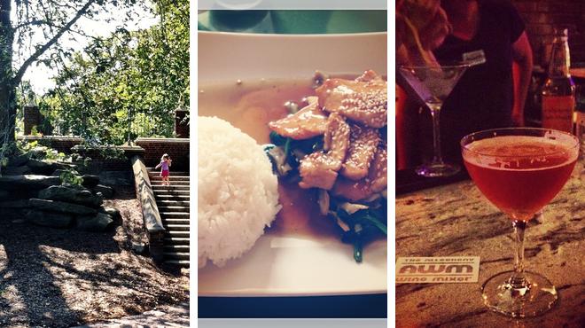 Park ⇨ Thai restaurant ⇨ Wine bar