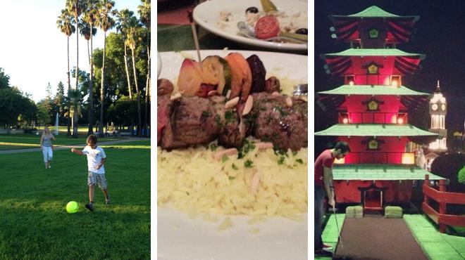 Park ⇨ Mediterranean restaurant ⇨ Play mini golf