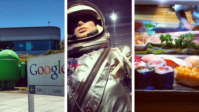 Sculpture garden ⇨ Science Exhibits ⇨ Sushi restaurant