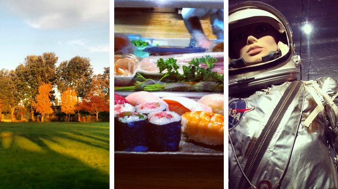 Park ⇨ Sushi restaurant ⇨ Science Exhibits