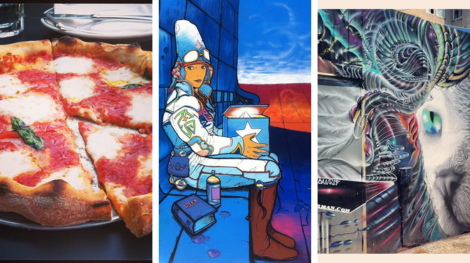 Pizza place ⇨ Admire local art ⇨ Bar