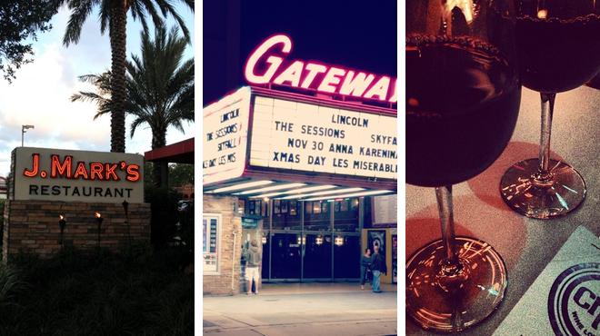 American restaurant ⇨ Catch a movie ⇨ Wine bar