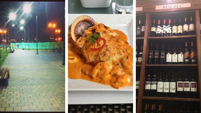 Park ⇨ Peruvian restaurant ⇨ Wine bar