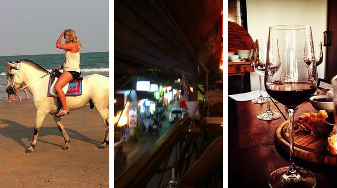 Beach ⇨ Tapas restaurant ⇨ Wine bar
