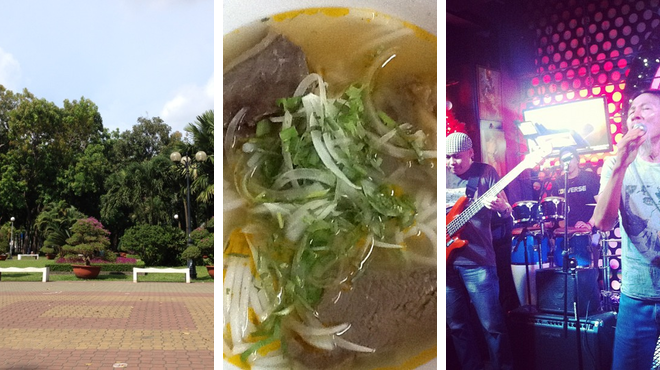 Park ⇨ Vietnamese restaurant ⇨ Rock club