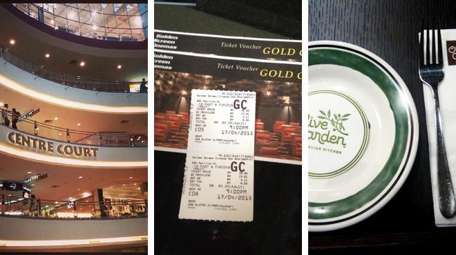 Mall ⇨ Catch a movie ⇨ Italian restaurant