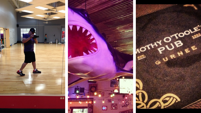 Gym / fitness center ⇨ Seafood restaurant ⇨ Pub