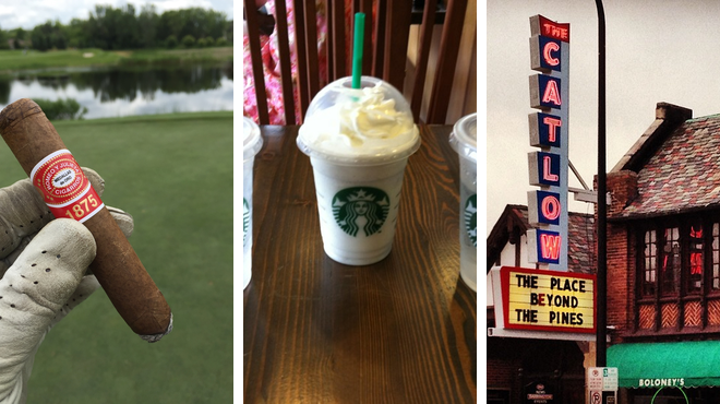 Golf course ⇨ Coffee shop ⇨ Catch a movie