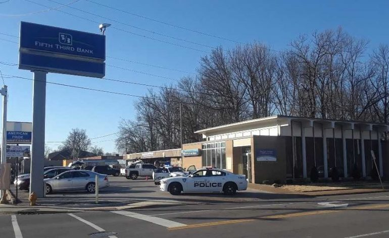 Evansville Police on Scene of Reported Bank Robbery on Washington Ave.