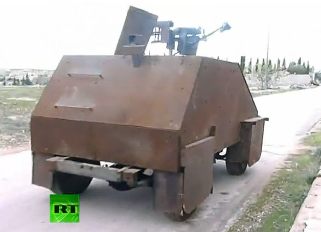 Syrian rebels build homemade tank