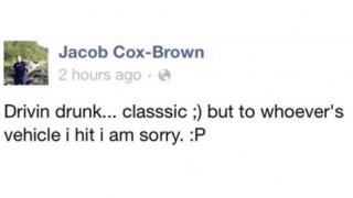 'Drivin' drunk' Facebook update leads to teen's arrest