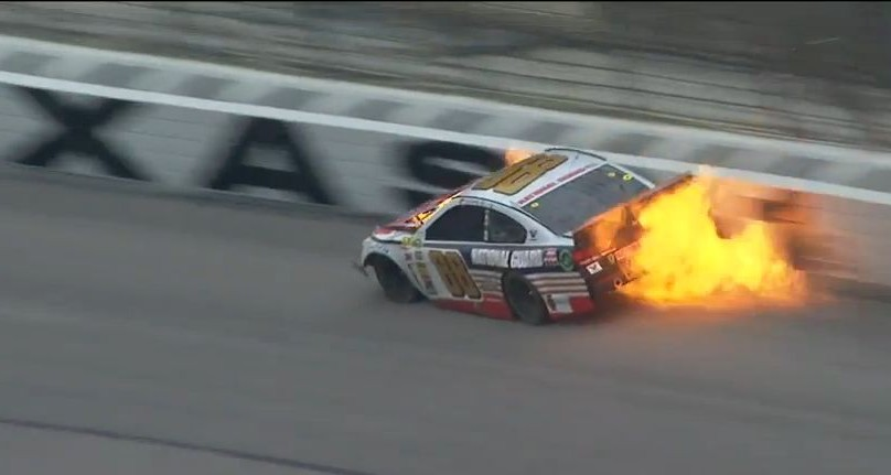 Dale Earnhardt Jr.'s car catches fire after crash