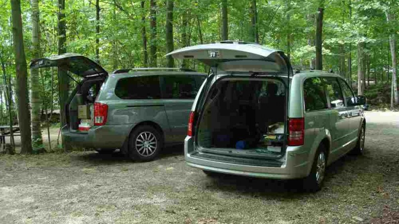 A Chrysler Town & Country and Kia Sedona BOTH offer plenty of space for luggage when camping.