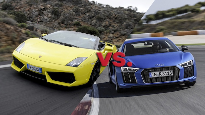 the audi r8 v10 vs lamborghini gallardo 560 4. Black Bedroom Furniture Sets. Home Design Ideas