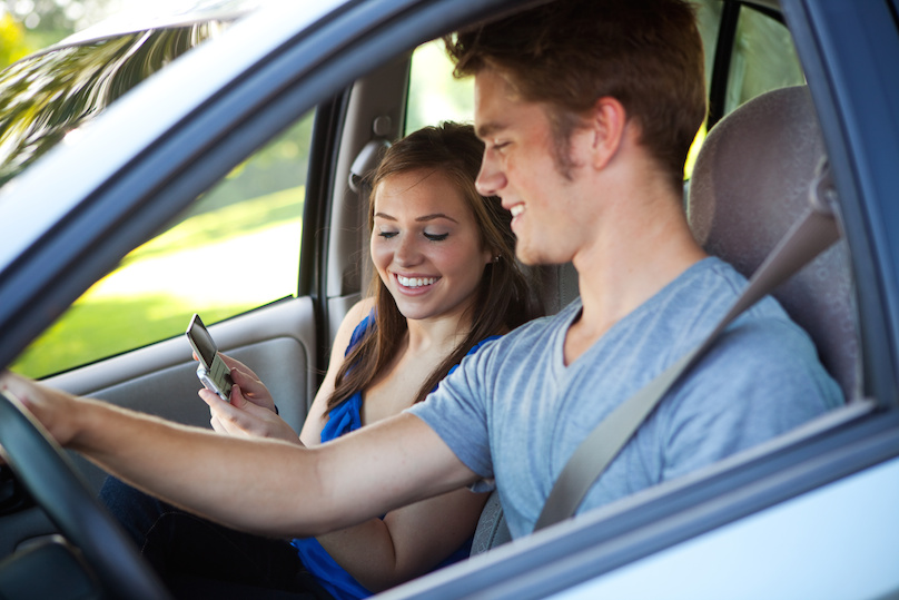 Driver Reading Text Message