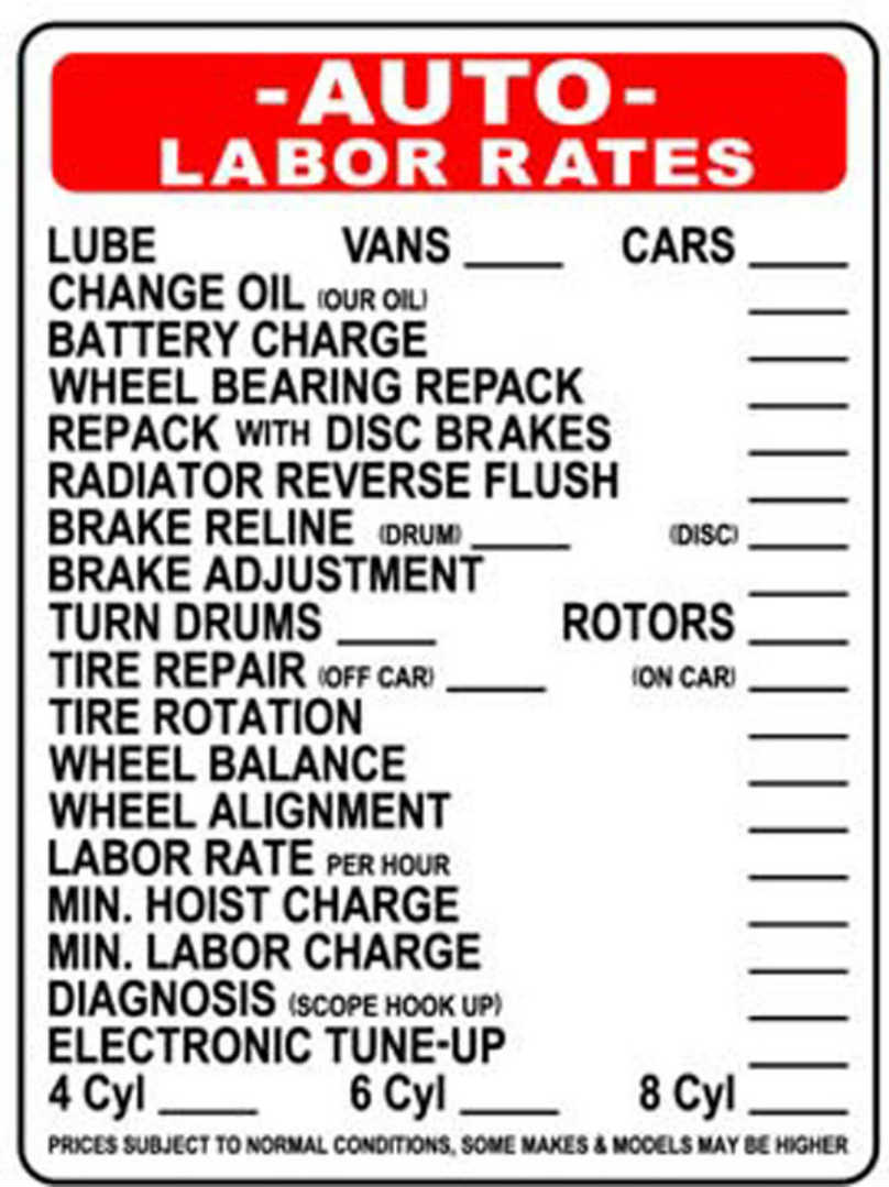 Labor Fee Car Repair