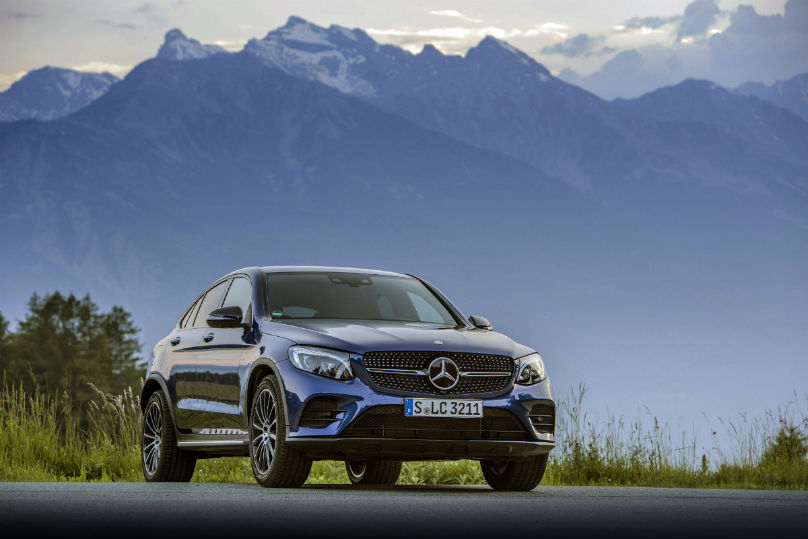 Stylish Mercedes GLC Coupe performs