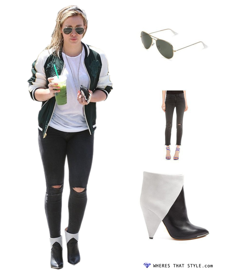 Hilary duff wearing ray ban rb3025 l0205 aviator large metal sunglasses in arista
