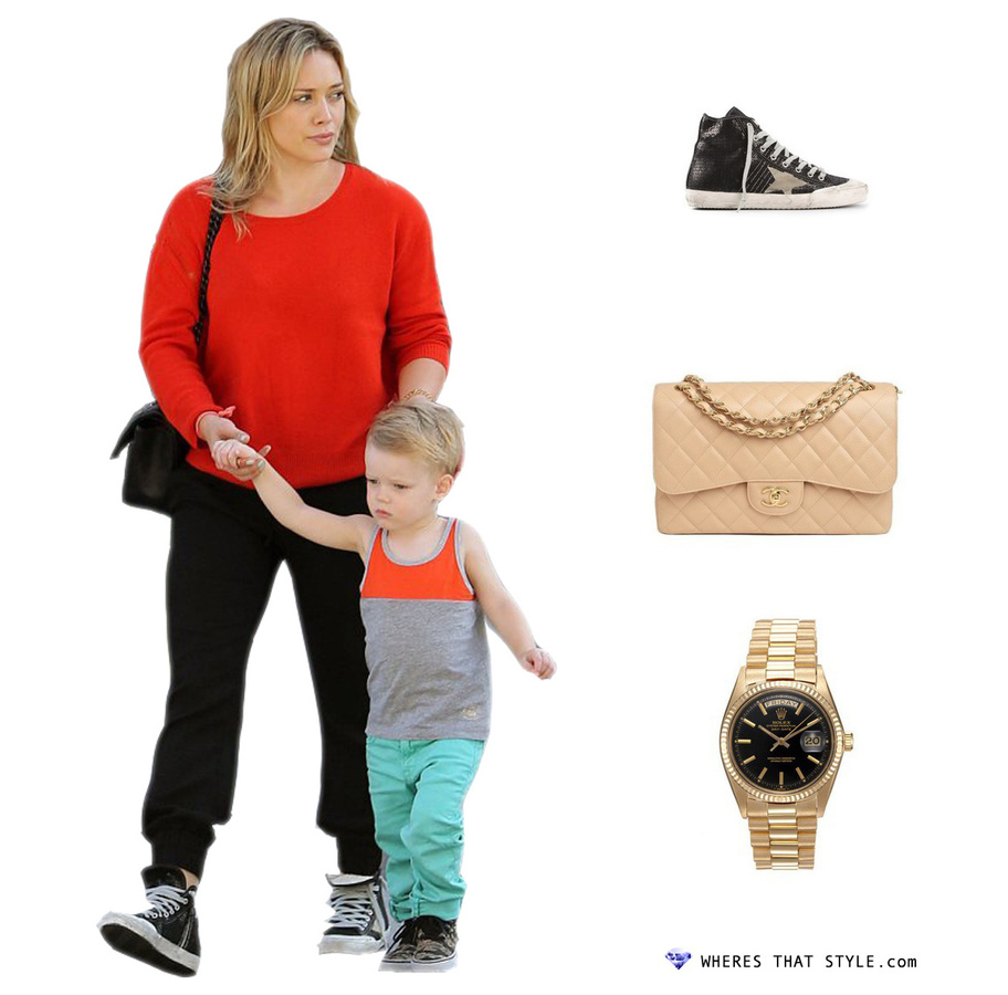 Hilary duff wearing golden goose deluxe brand francy trainer
