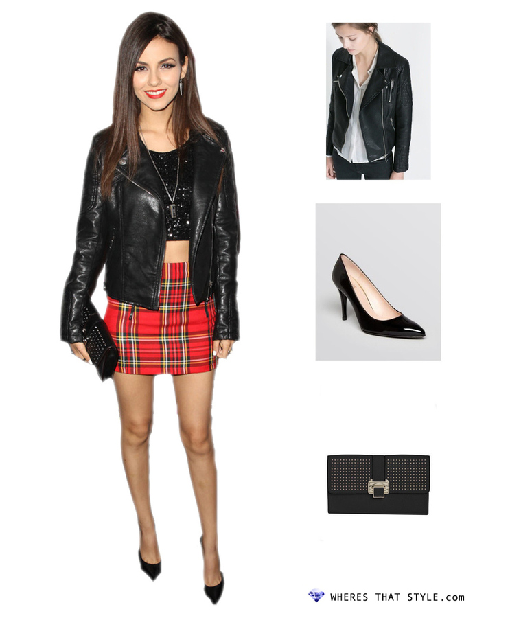 Victoria justice wearing zara motorcycle jacket with zips