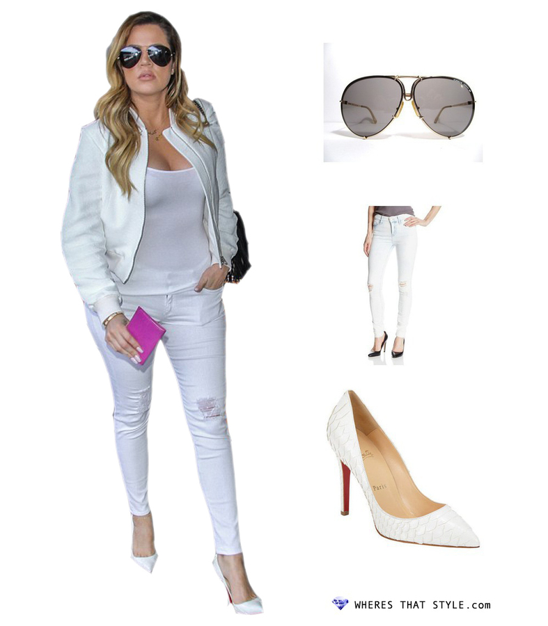 Khloe kardashian wearing porsche design aviators