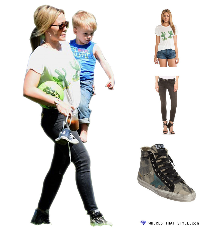 Hilary duff wearing a fine line hello cactus hastings tee