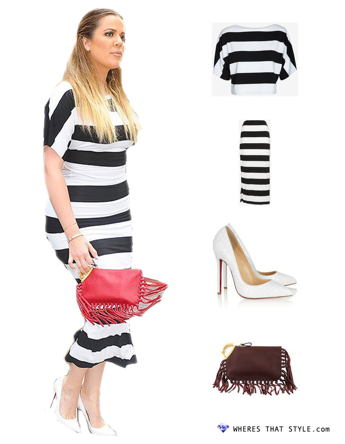 Khloe kardashian wearing nadia tarr striped crop box top