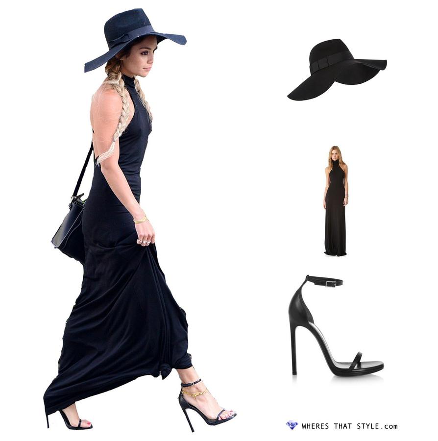 Vanessa hudgens wearing rachel pally romanni dress black